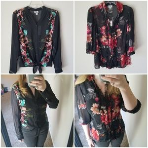 New! 2 Sheer Floral Blouses